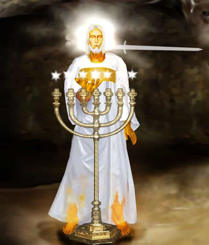 Jesus Midst Seven,Lampstands,Seven Stars,Seven Churches,Sword out of Mouth,Seven Candlesticks,Book of Revelation,Chapter 1 2 & 3
