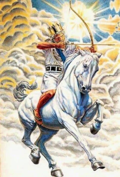 Conquer,Jesus,Yahshua,Christ,King of Kings,Lord of Lord's,White Horse,Armies of Heaven,Army of Heaven,Sword out of Mouth,Strike Nations,Rod of Iron,Wine-press,Word of God,Faithful,True,War,Many Crowns,Great Supper of God,Eat Flesh,Armageddon,6th Vial,Sixth Vial,Alien Invasion,Wrath,beast,kings of earth,destroyed,judgment,Revelation 19,Grape Harvest,Revelation 14,Revelation 16,Bow,Arrow,Crown,Many Crowns