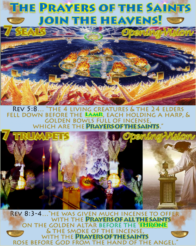 Prayers of Saints,Incense,offered,throne,Altar of Incense,Altar,Heaven,Revelation 8,Revelation 5,Revelation 5:8,Revelation 8:3-4,24 Elders,Harp,7 Seals,Seven Seals,Opening Vision,7 Trumpets,Seven Trumpets,Golden Altar,Bowl,censer,Aaron,Korah,Uzziah,Nadab,Abihu,Priest,Day of Atonement