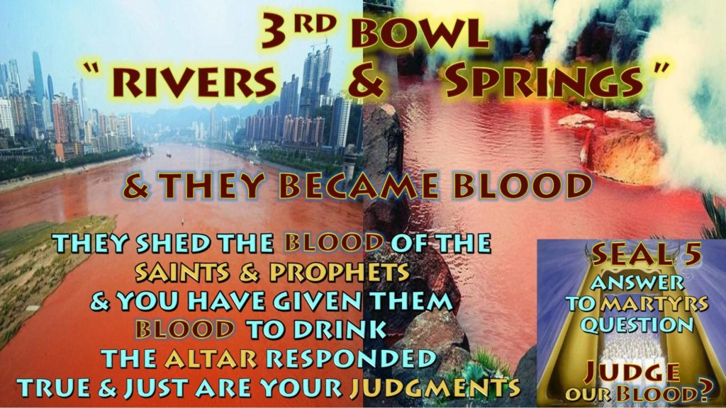 Third Vial,Bowl of Wrath,Rivers,Springs,Blood,Drink,Altar,Just,Juggments,Seven,Vials,Bowls of Wrath,Book of Revelation