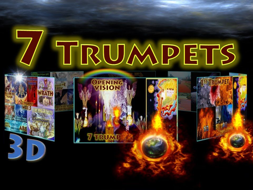 Seven Trumpets of Revelation,Seven Trumpets,Book of Revelation,Apocalypse,First Trumpet,Hail,Blood,Fire,Third,Trees,All Grass,Second Trumpet,Mountain,Sea,Ships,Destroyed,Third Trumpet,Rivers,Springs,Fourth Trumpet,Sun,Moon,Stars,Darkened,Fifth Trumpet,First Woe,Locusts,Abaddon,Apollyon,Sixth Trumpet,Second Woe,Kill Third,2 Witnesses,1260,42 months,Seventh Trumpet,Third Woe,Arc,Islands,Mountains,Earthquake,Babylon,Remembered,Wrath