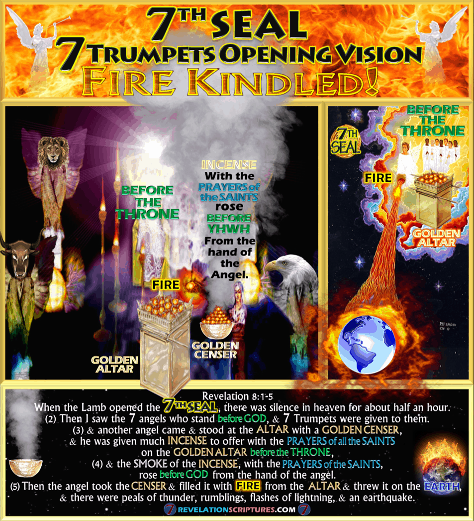Seventh Seal,7th Seal,Altar of incense,Golden Altar,Golden Censer,smoke,7 Trumpets,Seven Trumpets,Censur,Angel,Prayers of Saints,incense,Opening Vision,Fire,Altar,Thrown to Earth,Fire,Kindled,Book of Revelation,Revelation Chapter 8,Revelation 8:1-5,Revelation 8:5,Apocalypse,four beasts,4 beasts,4 living creatures,bull,eagle,lion,eyes,wings,YHWH,Temple,Heaven,Seven Seals,Seven Trumpets,Third Destruction,1/3,1/3rd,Third Earth Burnt,Third trees burnt,third sea blood,third sea creatures died,third boats,wrecked,destroyed,third rivers,third springs,wormwood,third sun,third,moon,third,stars,Kill third,Measurement of destruction,Book of Revelation,Seven Trumpets,First Trumpet,Second Trumpet,Third Trumpet,Fourth Trumpet,Fifth Trumpet,Sixth Trumpet,Seventh Trumpet,Book of Revelation,Picture Gallery,Album,Chapter 8,Chapter 9,Chapter 10,Chapter 11,Seven Vials of Wrath,7 Vials,7 Bowls,Seven Bowls,wrath,Picture Gallery,Book of Revelation,RevelationScriptures.com