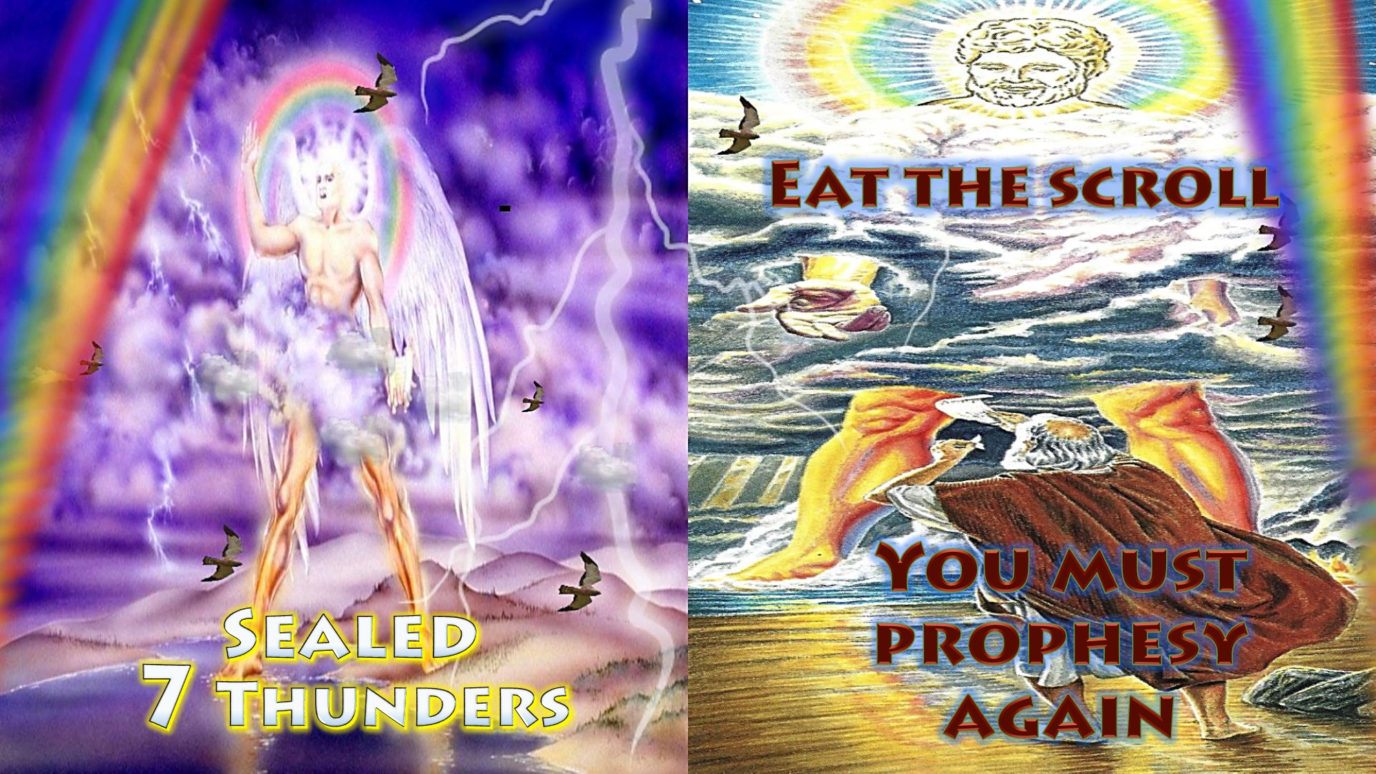 Sixth Trumpet,6th Trumpet,trumpet 6,Woe 2,2nd Woe,2nd Terrible Judgment,4 angels released,river Euphrates,Euphrates,200000000,two hundred million,Army,fire,smoke,sulfur,Kill Third,3 plagues,from mouths,Sealed,Seven Thunders,Sealed 7 Thunders,7 Thunders Sealed,Revelation 9,Revelation Chapter 9,Angle,rainbow over head,little scroll,Eat Scroll,do not write it down,mystery of God,Prophesy,sweet in mouth,bitter in stomach,sweet as honey,prophesy again,nations,languages,kings,Revelation 10,Revelation Chapter 10,42 Months,Trample Holy City,Holy City,Measure temple,Two Witnesses 1,260 Days,3.5 years,2 witnesses,two witnesses,1260 days,dressed in sackcloth,t olive trees,2 lampstands,no rain,power,turn water to blood,Great City,Come up here,Revelation 11,Revelation Chapter 11,Seven Trumpets,Apocalypse