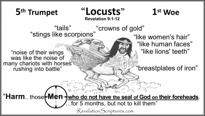 5th Trumpet,fifth trumpet,1st woe,first woe,1st terrible Judgment,first terrible judgment,angel,star,fell,key,bottomless pit,abyss,opens,locusts,torture,harm,sting,men without seal,no seal,five months,5 months,woman's hair,Breastplate of Iron,Iron breastplate,lion's teeth,scorpion's tale,men seek death,not find it,king,Abaddon,Apollyon,Destroyer,Revelation 9,Revelation Chapter 9,Book of Revelation