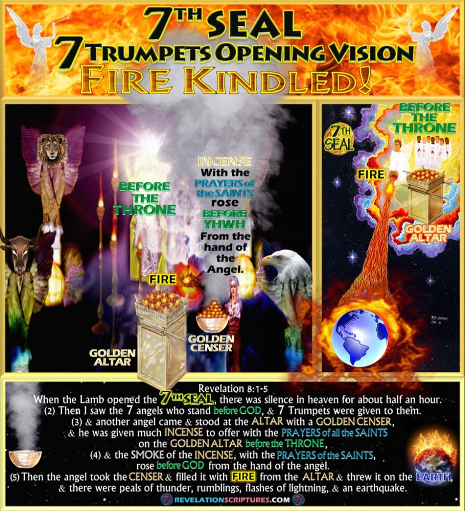 Seventh Seal,Luke 12:49,Deuteronomy 32:22,Song of Moses,7th Seal,Altar of incense,Golden Altar,Golden Censer,smoke,7 Trumpets,Seven Trumpets,Censur,Angel,Prayers of Saints,incense,Opening Vision,Fire,Altar,Thrown to Earth,Fire,Kindled,Book of Revelation,Revelation Chapter 8,Revelation 8:1-5,Revelation 8:5,Apocalypse,four beasts,4 beasts,4 living creatures,bull,eagle,lion,eyes,wings,YHWH,Temple,Heaven,Seven Seals,Seven Trumpets,Third Destruction,1/3,1/3rd,Third Earth Burnt,Third trees burnt,third sea blood,third sea creatures died,third boats,wrecked,destroyed,third rivers,third springs,wormwood,third sun,third,moon,third,stars,Kill third,Measurement of destruction,Book of Revelation,Seven Trumpets,First Trumpet,Second Trumpet,Third Trumpet,Fourth Trumpet,Fifth Trumpet,Sixth Trumpet,Seventh Trumpet,Book of Revelation,Picture Gallery,Album,Chapter 8,Chapter 9,Chapter 10,Chapter 11,Seven Vials of Wrath,7 Vials,7 Bowls,Seven Bowls,wrath,Picture Gallery,Book of Revelation,RevelationScriptures.com