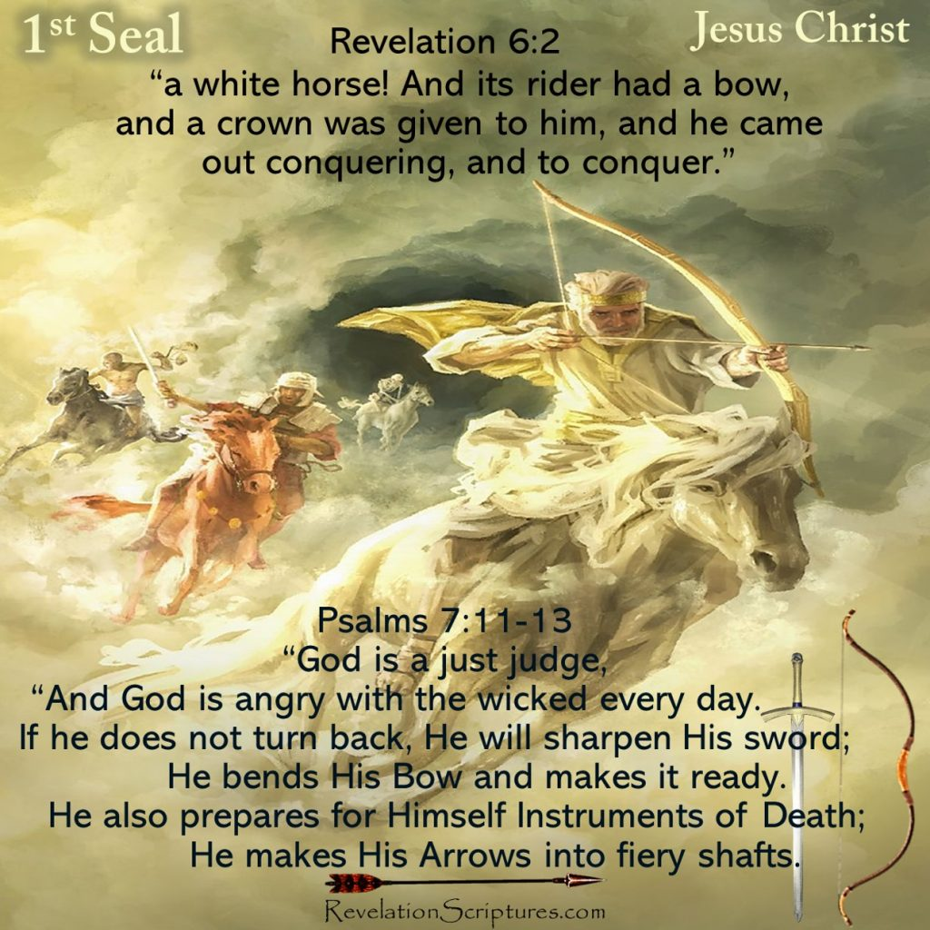 First Seal,Jesus Christ,1st Seal,White Horse,Bow,Crown,Conquering,Victory,Jesus,Seven Seals,Book of Revelation,Revelation Chapter 6,Apocalypse,four Horsemen,4 Horsemen,anti-christ,anti christ,deception