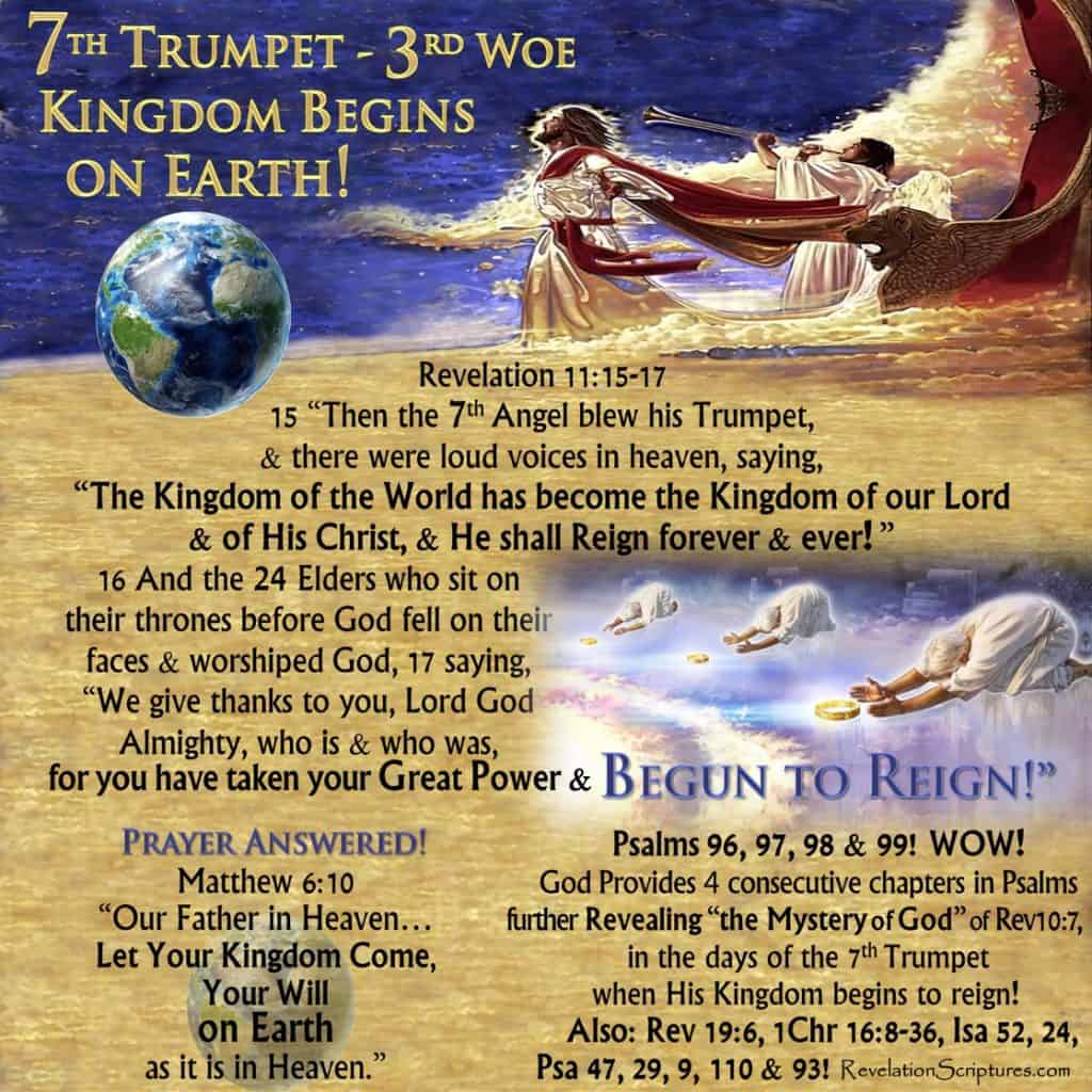 Seventh Trumpet,7th Trumpet,Third Woe,God's Temple,Heaven,Ark,Ark of the Covenant,Earthquake,Great Hail,Hail,Heavy Hail,Begun to Reign,Nations Angry,Wrath,Wrath has come,Reward,Judg Dead,time to reward,time to judge the dead,Book of Revelation,Revelation Chapter 11,Apocalypse,scriptural interpretation,biblical interpretation,food in due season,kingdom of world,kingdom of Christ,kingdom,birth of Kingdom,start of kingdom,destroy those ruining the earth,destroy the destroyers of the earth,7 bowls of Wrath,7 vials of Wrath,day of wrath,day of vengeance,day of the lord,revelation,saints,prophets,great and small,those who fear your name