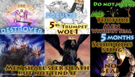 Fifth Trumpet,First Woe,Abaddon,Apollyon,Locusts,Torture,Five Months,Men,without Seal,Scorpion,sting,torture,torment,Seven Trumpets,Book of Revelation,Revelation Chapter 9,Apocalypse