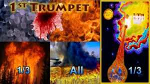 First Trumpet,1st Trumpet,Hail,Fire,Blood,All Grass Burnt,Third Trees Burnt,Third Earth,Burnt,Seven Trumpets,Book of Revelation,Revelation Chapter 8,Apocalypse