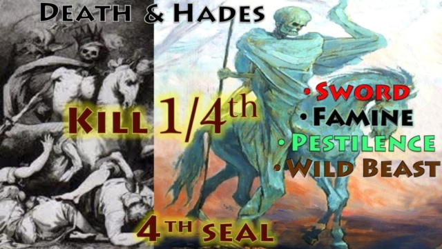 Fourth Seal Pale Green Horse Death Hades Kill Fourth Seven Seals Book of Revelation