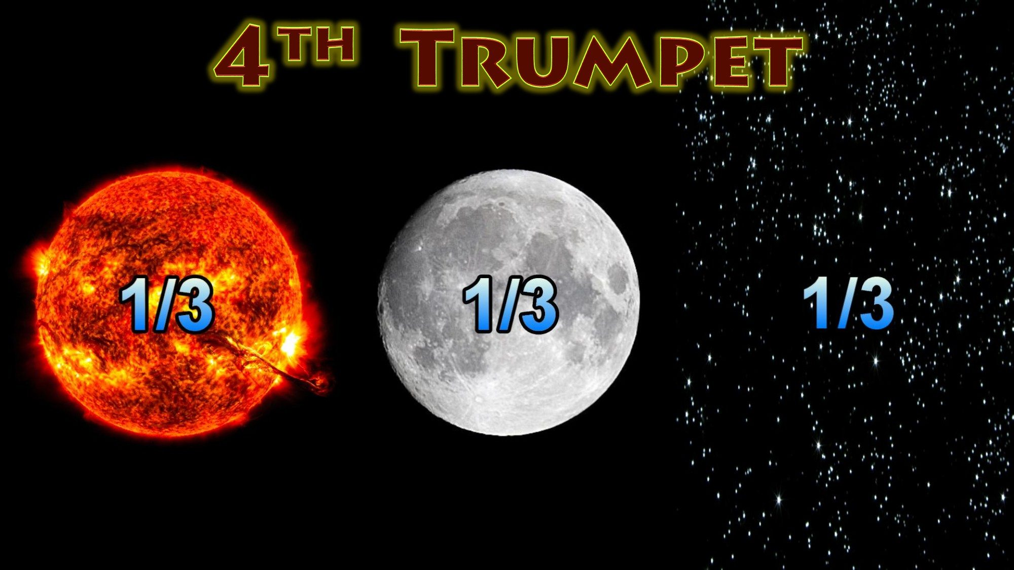 Fourth Trumpet,Sun,Moon,Stars Darkened,Third Dark,sun light blocked,Seven Trumpets,Book of Revelation,Revelation Chapter 8,Apocalypse