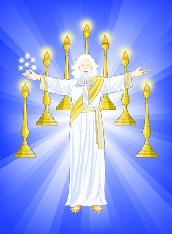 Jesus Midst Seven Lampstands Seven Stars Seven Churches Sword out of Mouth Seven Candlesticks Book of Revelation Chapter 1 2 & 3