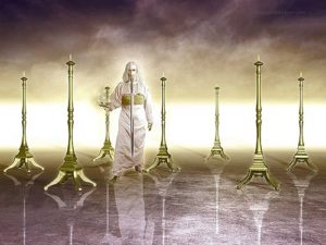 Jesus in Midst of Seven Lampstands Sword out of Mouth Seven Candlesticks Revelation Chapter 1 Introduction Seven Lampstands Seven Churches Seven Stars Book of Revelation