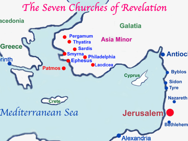 Location of Seven Churches of Revelation Map Revelation Chapter 1 Introduction Seven Lampstands SevenChurches Seven Stars