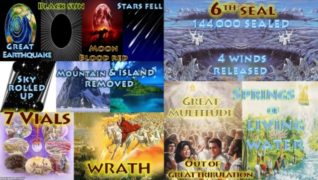 Sixth Seal Sun Moon Stars Sky Mountains Islands Wrath Hid Caves 144000 Great Multitude Chapter 6 & 7 Seven Seals of the Book of Revelation