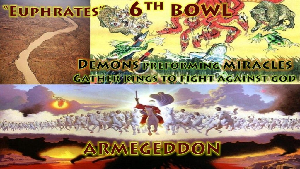 Sixth Vial,Bowl,6th Vial,6th Bowl,Wrath,Euphrates,Armageddon,Frogs,Demons,Miracles,Gather Kings Earth,Fight Against God,Beast,Dragon,False Prophet,Book of Revelation,Revelation Chapter 16,Revelation Chapter 19