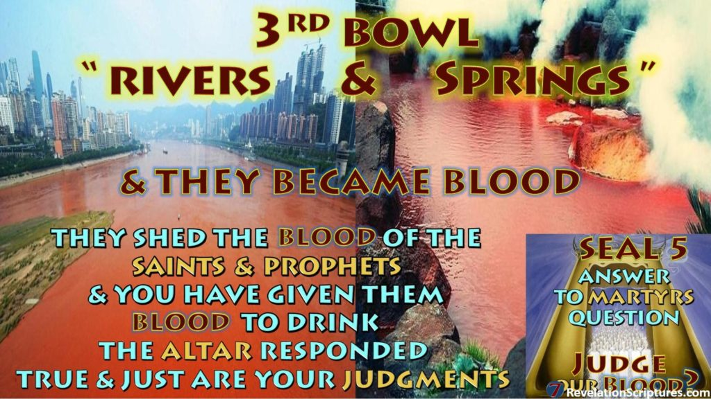 Third Vial,Third Bowl of Wrath,3rd Vial,3rd Bowl,Rivers,Springs,Blood Drink,Altar,Just Judgments,Seven Vials Bowls of Wrath,Book of Revelation, Apocalypse,Revelation Chapter 16