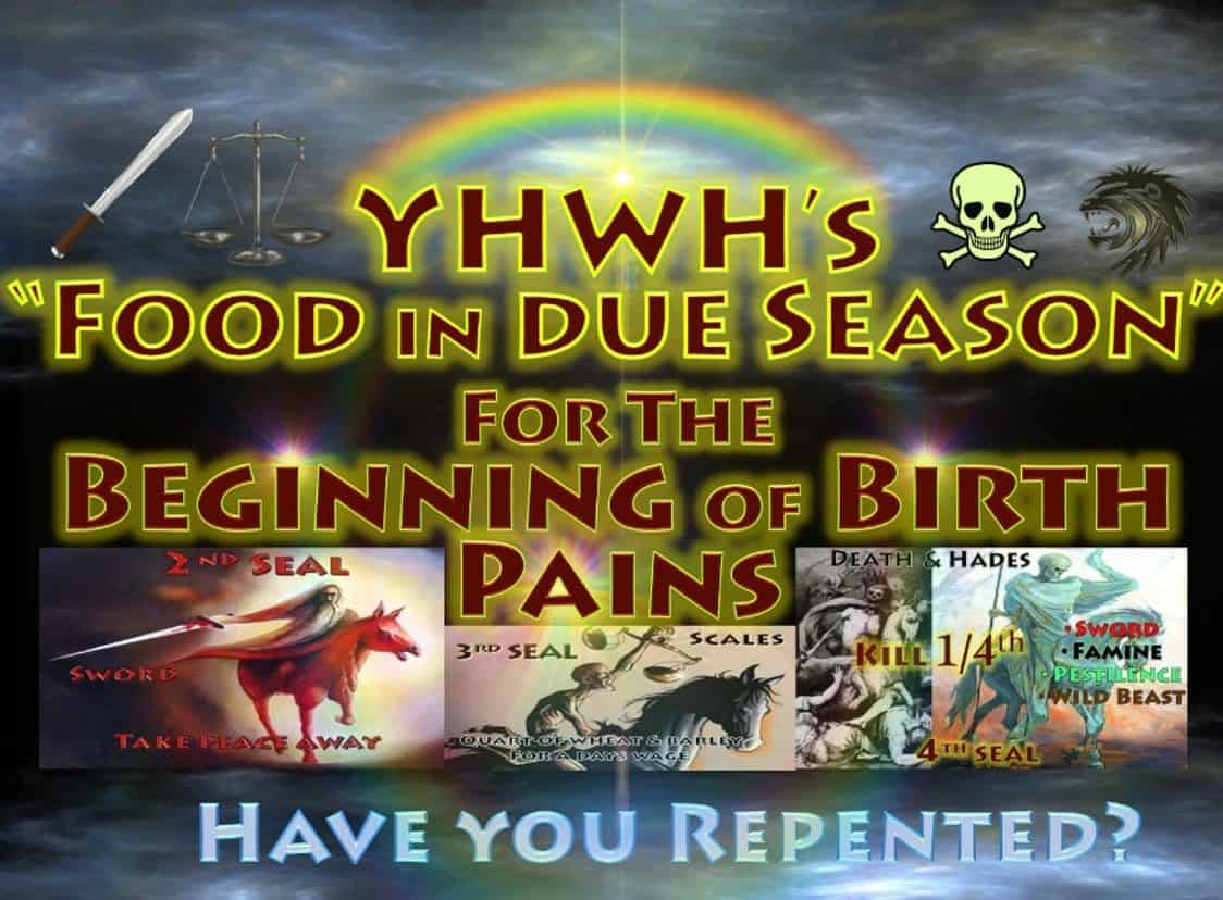 Revelation,War,sword,famine,hunger,scales,black horse,four horseman,apocalypse,red horse,pale horse,death,hades,kill 1/4,wild beasts,plague,pestilence,YHWH,Prophesy,lord's day,Jesus,Christ,God,Matthew 24,Mark 13,Luke 21,Jeremiah,song of moses,blessings,curses,7 seals,7 trumpets,Seven seals,7 Seals,Book Of Revelation (Religious Text),Second Seal,Third Seal,fourth Seal,Beginning of Birth Pains,Beginning of Sorrows,Food in Due Season
