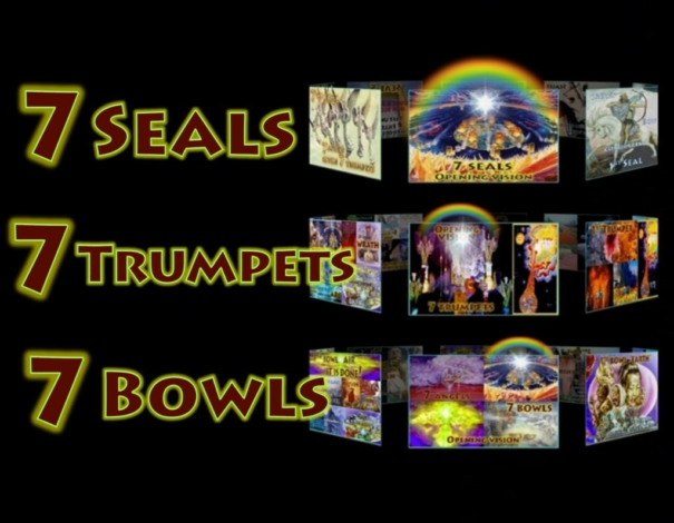 Book of Revelation,Apocalypse,Seven Seals of Revelation,Seven Trumpets of Revelation,Seven Bowls of Wrath,First Seal,Second Seal,Third Seal,Fourth Seal,Fifth Seal,Sixth Seal,Seventh Seal,First Trumpet,Second Trumpet,Third Trumpet,Fourth Trumpet,Fifth Trumpet,Sixth Trumpet,Seventh Trumpet,Vial of Wrath,Vials,First Bowl,Second Bowl,Third Bowl,Fourth Bowl,Fifth Bowl,Sixth Bowl,Seventh Bowl,7 Trumpets of Revelation,7 Seals of Revelation