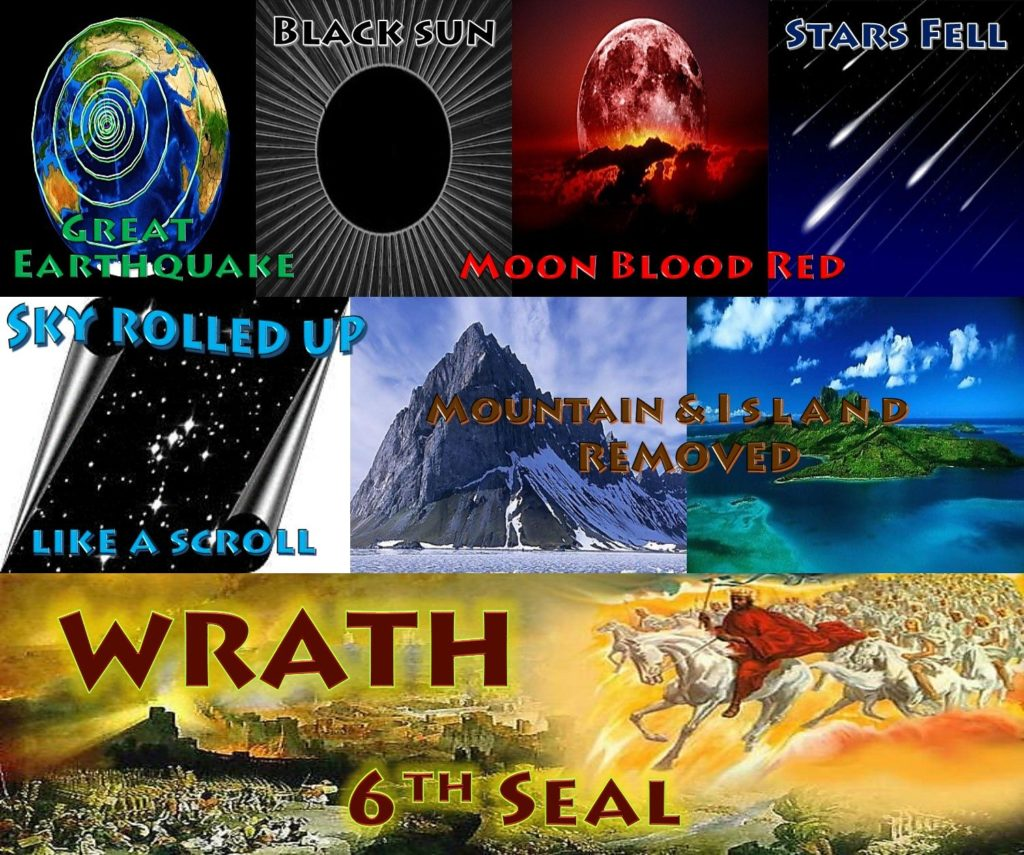 Sixth Seal,6th Seal,Book of Revelation,Apocalypse,Earthquake,Great Earthquake,sun black,stars fell,moon blood red,sky scroll,sun,moon,stars,sky receded,island,mountains,removed, islands and mountains removed,hid in caves,hide us,wrath of God,wrath of the Lamb,144000,sealed,4 angels,4 winds,destruction,Great multitude,Great Crowd,Great Tribulation,salvation,Revelation 6,Revelation Chapter 6,Revelation 7,Revelation Chapter 7