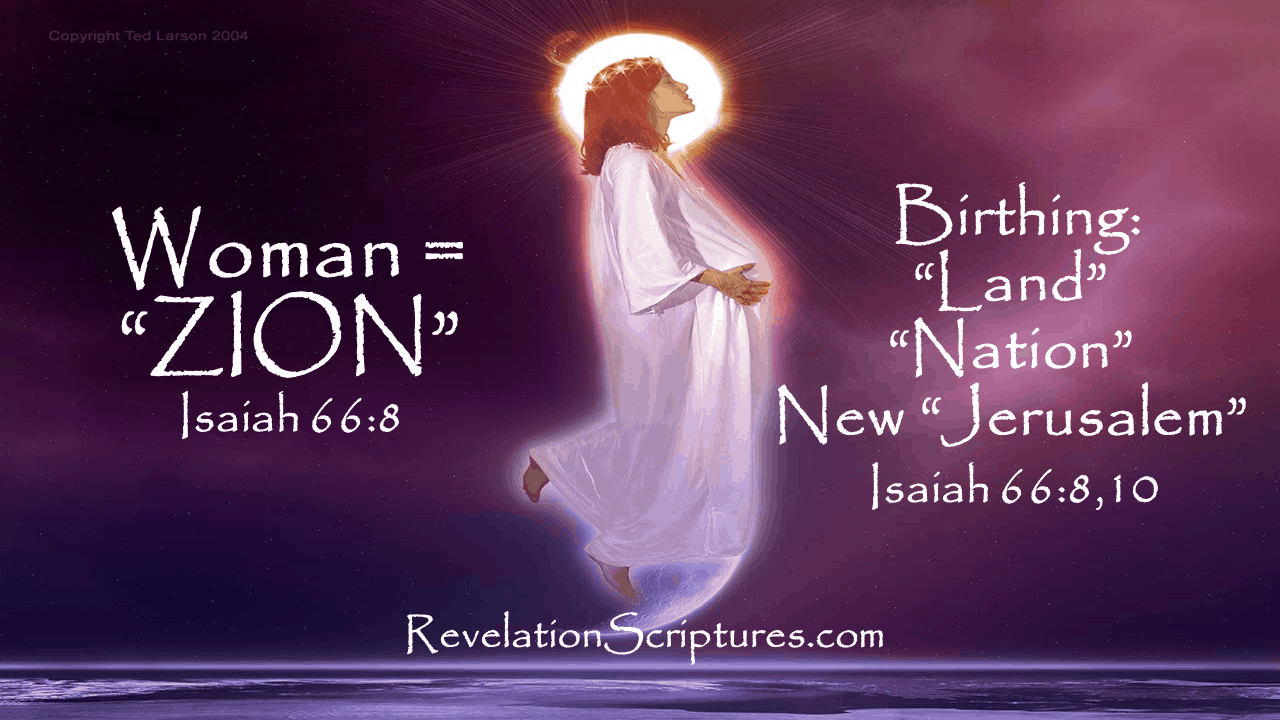 Woman,Pregnant,12 Stars,Clothed Sun,Moon,Birth,Male Child,Child, Rule Nations,Rod of Iron,New Jerusalem,Revelation 12,Agony,Pain, Dragon,devour child,serpent,third stars,Revelation 12,Revelation Chapter 12,identifying the woman,who is the woman,who is she giving birth to,who is the child,Isaiah 66,Jerusalem,land,nation