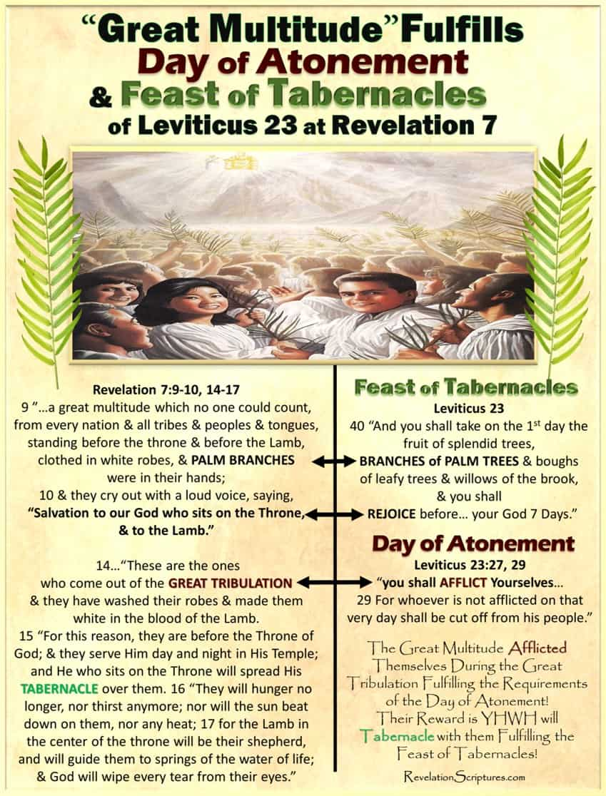 Day of Atonement,Yom Kippur,Atone,Atonement,What is Atonement,What does atonement mean,Book of Revelation,Atonement in Revelation,Bible Prophecy,Apocalypse,Day of Atonement in Revelation,Old Testament,Bible,Leviticus,hebrew,High Priest,Sacrifice,mercy seat,temple,lamb,scapegoat,Israel,Jewish Holy Days,Jewish Holidays,blood,blood,atonement,cleanse,wash,forgive,cover,purify,pardon,redeem,purge,putoff,reconcile,reconciliation,pacify,Leviticus 17,Yom Kippur in Revelation,Feast in Revelation,Altar,Blood Altar,Sacrifice,Lamb's Blood,Blood of the Lamb,Saints Blood,5th Seal,Hail Fire and Blood,1st Trumpet,Sea Blood,River Blood,Blood River,Blood Sea,Poisoned Water,Blood Moon,Moon Blood Red,6th Seal,Harvest,Wine press,High as a Horses Bridal,Reap,Armageddon,6th Bowl of Wrath,Babylon,Cup filled with Blood of the Saints,Blood Guilt,,Leviticus Chapter 23,7 Feasts,Seven Feasts,Appointed Times,Holy Convocation,Assembly,Revelation,Book of Revelation,Fulfillment,Fulfilled,Revelation of Jesus Christ,YHWH, Feast of Tabernacles,Feast of Ingathering,Moed,sukkot,Succot,booths,palm branches,celebration,8th Day,Eight Day,Sabbath,Rest,Feast of Booths,Ingathering,Tabernacle,Last Days,End Times,Bible Prophesy,Prophetic,prophet,prophesy,Bible,YHWH,Jehovah,Palm Branches,Leviticus 23,Great Multitude,Great Crowd,waving Palm branches,New Jerusalem,He will Dwell,Dwell,Tent,spread His Tent,Tent of God,Rejoice,White robes,no more hunger,no more heat,lamb,lamb shepherd,springs of life,river of water of life,springs of water of life,new heavens,new earth,holy city,bride,bride of Christ,tabernacle of God is with men,he will tabernacle with them,he will spread his tabernacle over them,wipe away every tear,death will be no more,no more death,no more tears,no tears,no pain,no more pain,former things have passed away,144000,Israel,old testamate,temple,ancient,biblical,sukkot,Jerusalem,Jesus,yeshua,Nehemiah,background,harvest,ceremony,art,celebration,Israelites,Tabernacles in Revelation,Future Fulfillment,Su