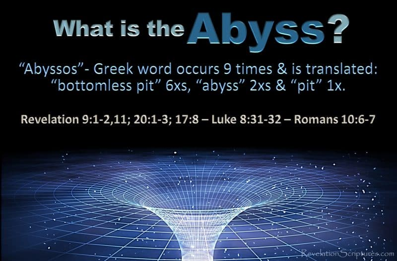 Abyss,Bottomless pit,pit,abyssos,key,open shaft,Revelation 9,Revelation 20,Revelation 17,5th Trumpet,fifth trumpet,Angle of the abyss,angle of the bottomless pit,bounds devil,devil in abyss,devil in bottomless pit,demons in abyss,demons in bottomless pit,Jesus in abyss,Jesus in bottomless pit,Luke 18,Romans 10,Book of Revelation,Apocalypse,What is the abyss,What is the bottomless pit,Scriptures about the abyss,scriptures about the bottomless pit,beast rises from abyss,beast rises from bottomless pit,abaddon,locusts,dragon,beast,creature,devil,bible,book,gog,judgment,bound,fire,angle