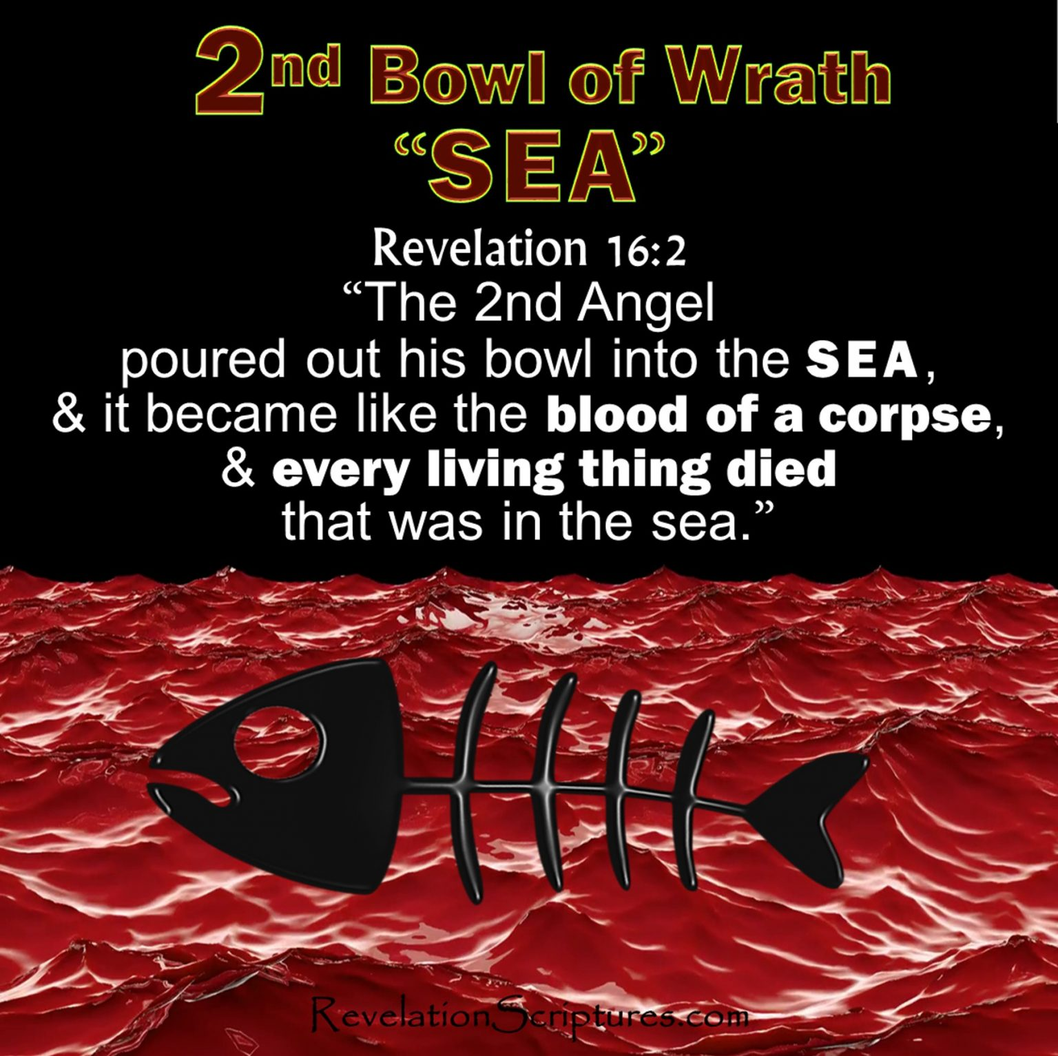 Second Vial, Second Bowl, 2nd Vial,2nd Bowl,wrath,Sea Blood,Everything Died,Corpse,Seven Bowls Vials of Wrath,Book of Revelation, Apocalypse,Revelation Chapter 16
