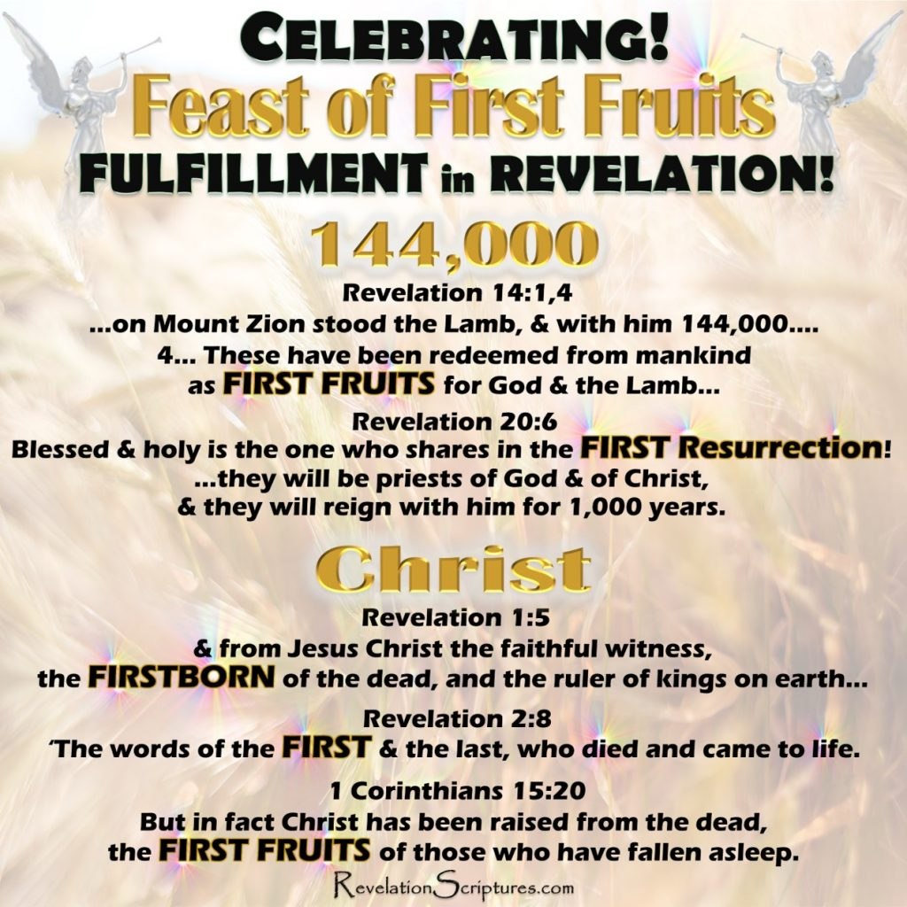 "Feast of FirstFruits,Feast of First Fruits,First Fruits,Firstfruits,celebrating,Passover,unleavened bread,feast of Passover,feast of unleavened bread,pesach,Nissan,first born,firstborn,Shavuot,feast of weeks,sefirah,counting the omer,spring feasts,144000,Christ,1st resurrection,first resurrection,7 Feasts,Book of Revelation,fulfilled,meaning,copy,shadow,forshadow,pattern,fulfillment,bride,new Jerusalem,levi,tribe of levi,priests,kings,judges,priest,king,judges,wife of the lamb,heavenly Jerusalem,Jerusalem above,Jerusalem,Israelof the LAMB."" Revelation 21:9,Bride,wife of the LAMB,Revelation 21:14,twelve apostles of the LAMB,"