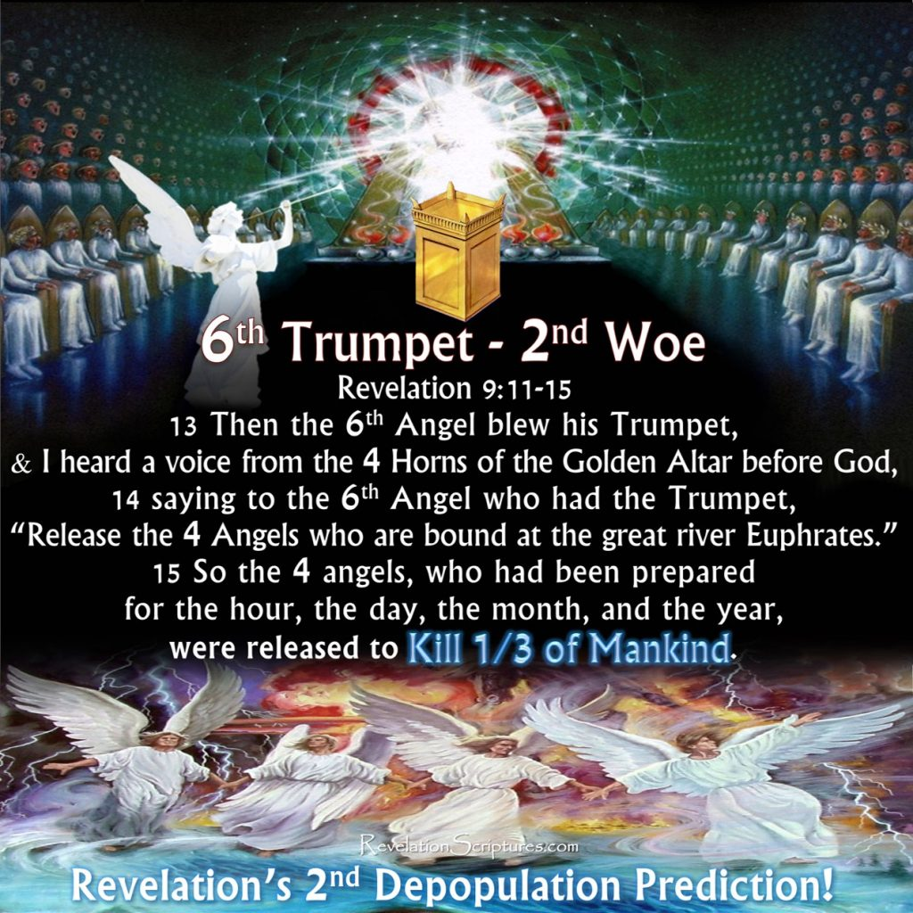 Sixth Trumpet,6th Trumpet,trumpet 6,Woe 2,2nd Woe,2nd Terrible Judgment,4 angels released,4 Angels,river Euphrates,Euphrates,4 horns,golden altar,breastplates,lion's heads,fire smoke and sulfer,fire,smoke,sulfer,3 plagues,depopulation,population reduction,tails like serpents,200000000,two hundred million,Army,fire,smoke,sulfur,Kill Third,3 plagues,from mouths,Revelation 9,Rev 9, Revelation Chapter 9,china army,kill third of mankind,