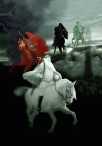 4 Horsemen, four Horsemen, apocalypse, beginning-of-birth-pains, Beginning of Sorrows, Matthew 24, book-of-revelation, death, famine, first-seal, four-horsemen-of-the-apocalypse, fourth-seal, green, hades, death, horse, hunger, kill-14, pale-green, pestilence, plague, Red Horse, second-seal, third-seal, white Horse, Bow, Crown, Conquering, wild-beasts, sword, Take Peace awar, War, Third Seal, Famine, Hunger, Balances, Scales, Ezekiel 14, Deuteronomy 32, Revelation 6, Jeremiah 14, Jeremiah 15, Jeremiah 16, Leviticus 26, Ezekiel 14